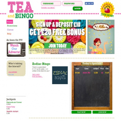 Tea and bingo homepage screenshot